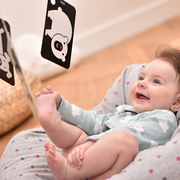 High Contrast Flash Cards on a ring 3m+ baby visual stimulation black and white cards