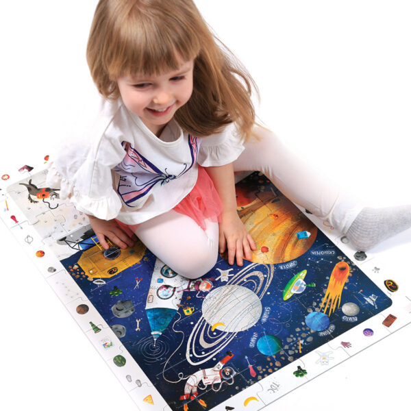 Observation Puzzle Space - solar system floor puzzle and educational poster