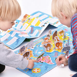World map with poster and animal figures - What in the World Animals Around the World 4+