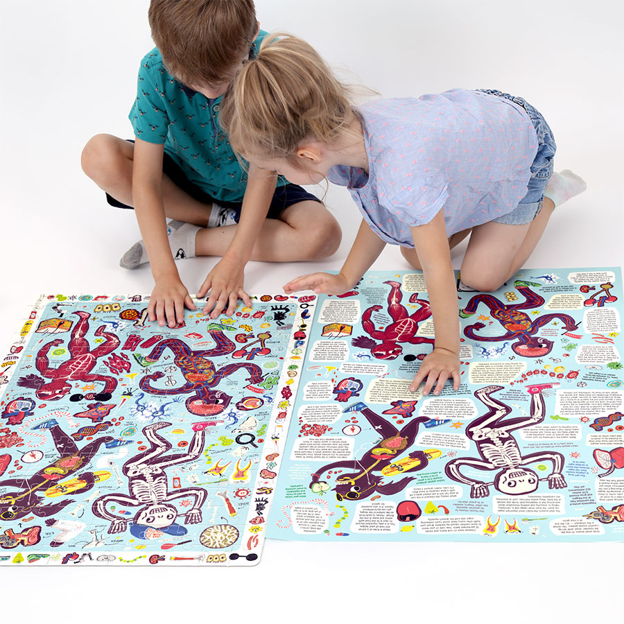 Large floor observation puzzle for kids 7+ and poster - Observation Puzzle My Body