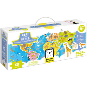 Animals of the world floor puzzle and poster - What in the World Animals Around the World 4+