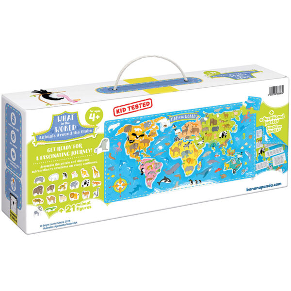 What in the World Animals Around the World 4+ - world map puzzle for preschoolers