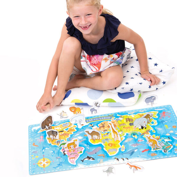 What in the World Animals Around the World 4+ world map jigsaw puzzle