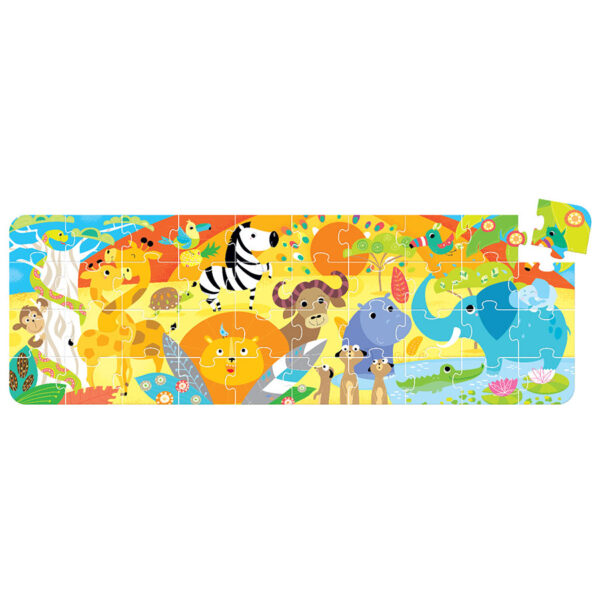 Large floor jigsaw puzzle wild animals - Looong Puzzle Safari