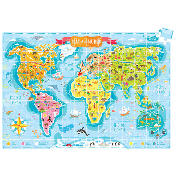 World map jigsaw puzzle - What in the World Young Explorers 6+