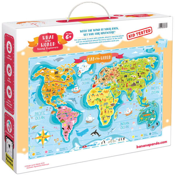 World map giant puzzle - What in the World Young Explorers 6+