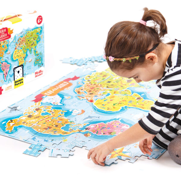World map educational puzzle for preschoolers - What in the World Young Explorers 6+