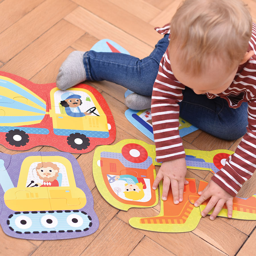 Vehicles jigsaw puzzles for toddlers - Hands at Play Construction Vehicles 2+
