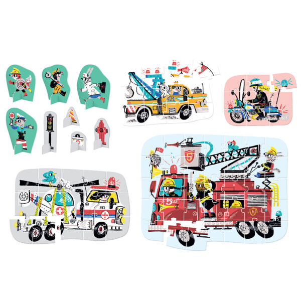 Vehicles progressive puzzles - Figure it out Puzzle Vehicles in Action 3+
