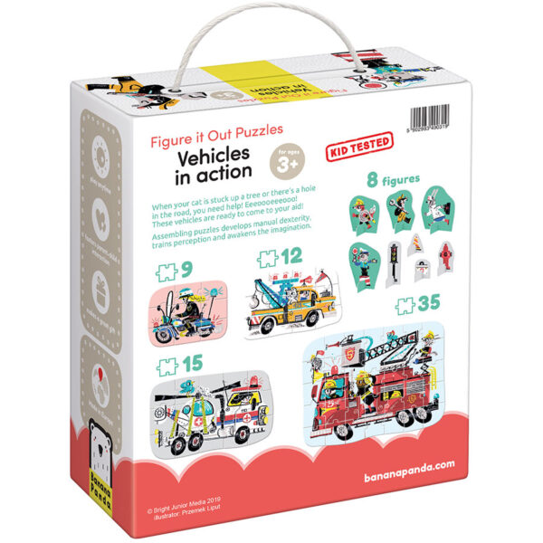 Emergency vehicles puzzle set for kids 3 and up - Figure it out Puzzle Vehicles in Action 3+