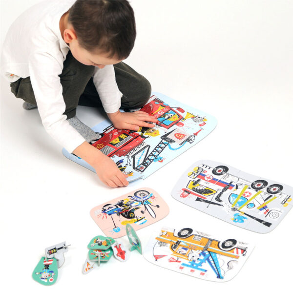 Vehicles puzzles and play figures - Figure it out Puzzle Vehicles in Action 3+