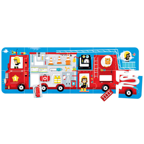 Panoramic floor puzzle colors and shapes - Make-a-Match Puzzle Fire Truck 2+