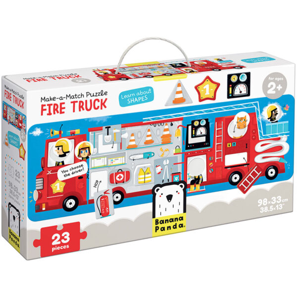 Shapes and colors learning puzzle - Make-a-Match Puzzle Fire Truck 2+