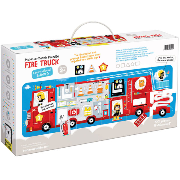 Colors and shapes matching puzzle - Make-a-Match Puzzle Fire Truck 2+