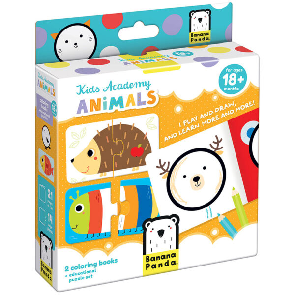 Kids Academy Animals 18m+ coloring book and puzzles activity set