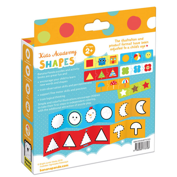 Kids Academy Shapes 2+ coloring book and puzzles activity set