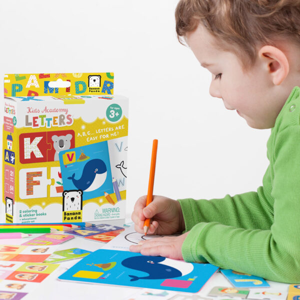 Kids Academy Letters 3+ educational puzzles and coloring book set