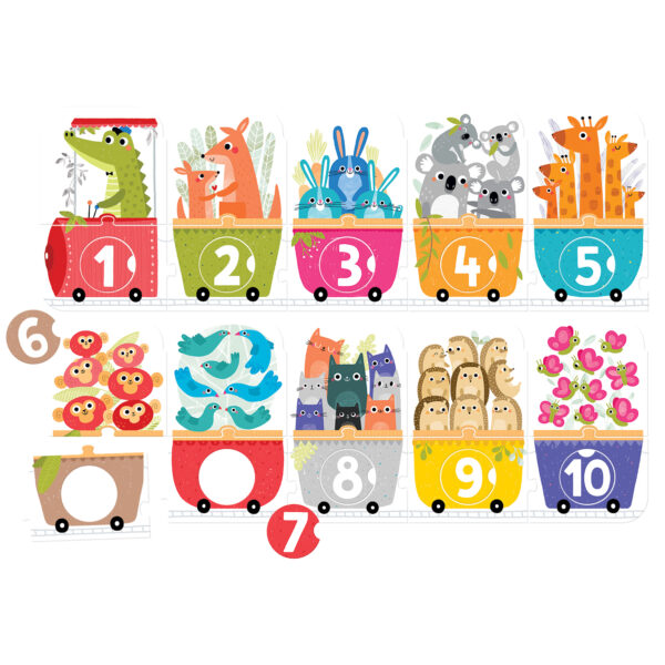 Make-a-Match Puzzle Number Train - learn to count educational puzzle