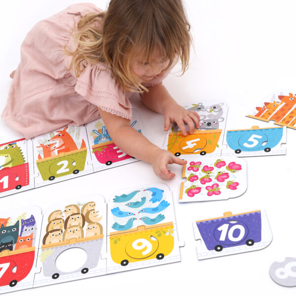 Number floor puzzle for toddlers - Make-a-Match Puzzle Number Train