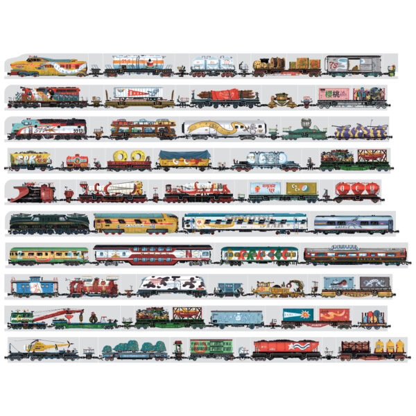 Train floor puzzle and educational poster - Mix and Match Trains