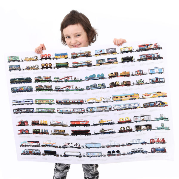 Educational train matching puzzle and poster - Mix and Match Trains