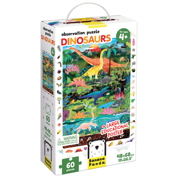 Observation Puzzle Dinosaurs - jigsaw puzzle and poster for kids 4 and up