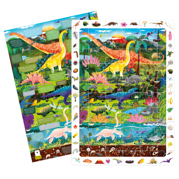 Educational puzzle and poster set - Observation Puzzle Dinosaurs
