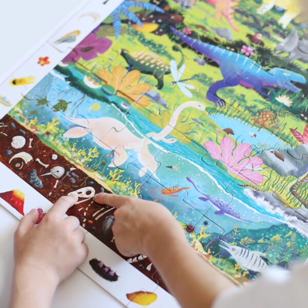Dinosaurs jigsaw puzzle and educational poster - Observation Puzzle Dinosaurs