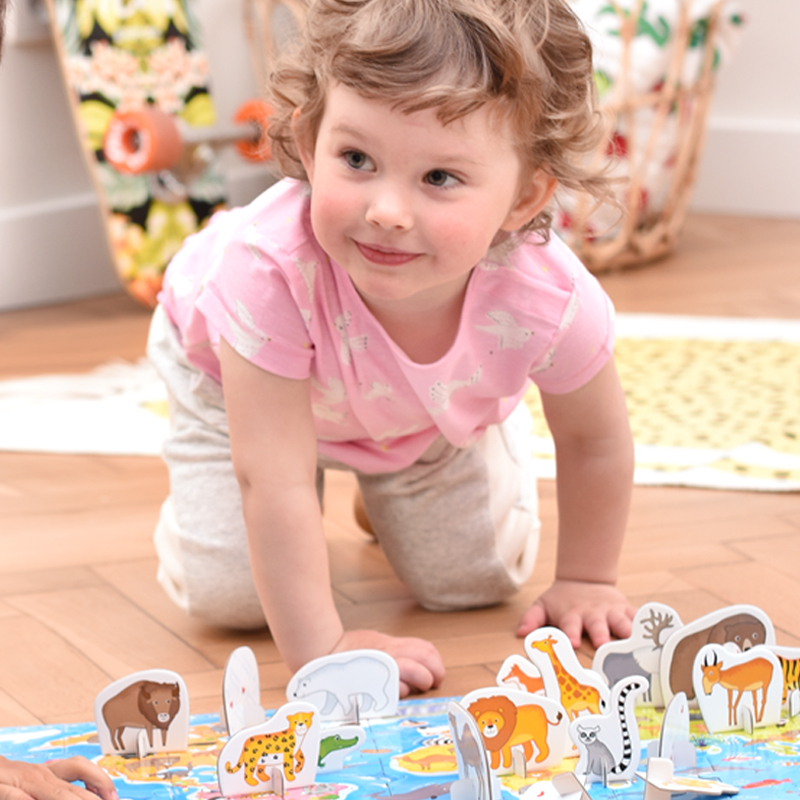 What in the world - map puzzle and animal figures